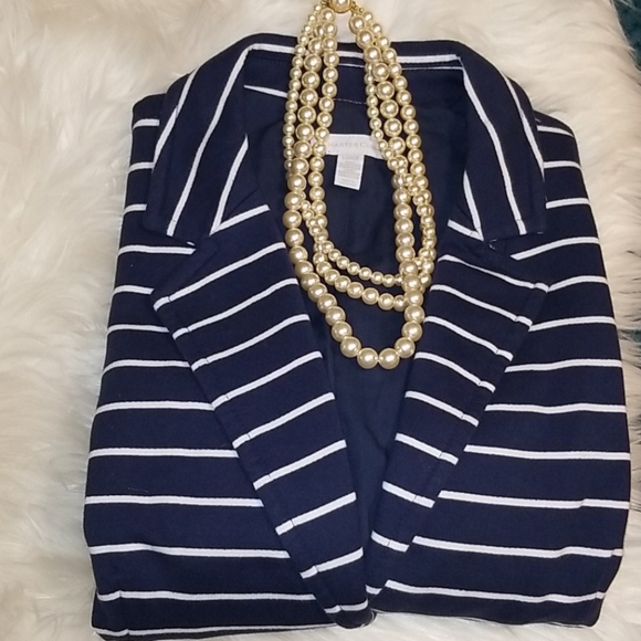 Charter Club Nautical Navy & White Blazer